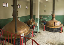 Lower level of brew house at Brewery 'Het Sas' in Boezinge, Belg Stock Image