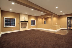 Lower level family room. In new construction home Royalty Free Stock Image