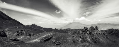Lower level of Vocano Pacaya Panorama in Guatemala. Panoramic View in black and white from the base of Volcano Pacaya with characteristic volcanic rock Stock Image
