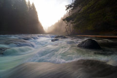 Lower Lewis River Falls During Sunset in washington state. Top of Lower Lewis River Falls in Gifford Pinchot National Forest during sunset in washington state Royalty Free Stock Photo