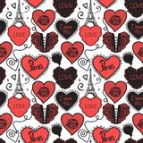 Hand drawing Love in Paris. Lower lingerie and the Eiffel Tower. Seamless pattern red isolated on white background. Lower lingerie and the Eiffel Tower. Hand Royalty Free Stock Images