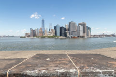 Lower Manahttan seen from Castle Williams. Lower Manhattan seen from Castle Williams: an early 19th century fort on Governors Island royalty free stock image