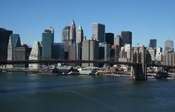 Lower Manhattan. Aerial view under clear blue sky Royalty Free Stock Photo