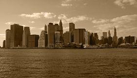 Lower Manhattan. In sepia tone Stock Photography