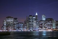 Lower Manhattan. Lights of lower Manhattan at night Stock Photos