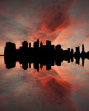 Lower Manhattan al tramonto Immagine Stock