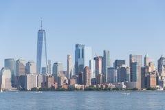 Lower Manhattan al tramonto osservato da Hoboken, New Jersey fotografia stock