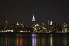 Lower Manhattan alla notte Fotografie Stock