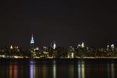Lower Manhattan alla notte Immagini Stock