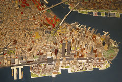 Lower Manhattan area at the New York Panorama in Queens Museum Royalty Free Stock Photos