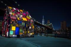Lower Manhattan bij nacht Royalty-vrije Stock Fotografie