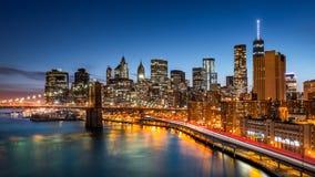 Lower Manhattan bij schemer Royalty-vrije Stock Afbeelding