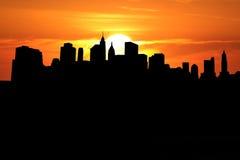 Lower Manhattan bij zonsondergang Royalty-vrije Stock Afbeeldingen