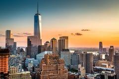 Lower Manhattan bij zonsondergang Royalty-vrije Stock Fotografie