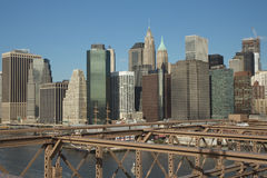 Lower Manhattan from the Brooklyn Bridge Stock Image