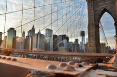 Lower Manhattan from Brooklyn Bridge, New York. City Stock Photo