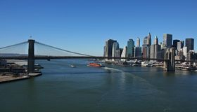 Lower Manhattan and Brooklyn Bridge Panoramic. Manhattan and Brooklyn Bridge panoramic- aerial view Royalty Free Stock Image