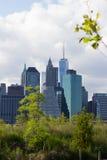Lower Manhattan from Brooklyn Bridge Park Stock Photo