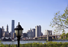 Lower Manhattan with Brooklyn bridge Skyline Stock Photography