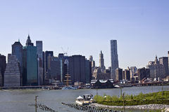 Lower Manhattan with Brooklyn bridge Skyline Royalty Free Stock Images