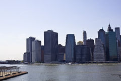 Lower Manhattan with Brooklyn bridge Skyline Stock Images