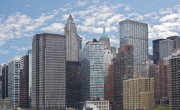 Lower Manhattan from brooklyn bridge Skyline Royalty Free Stock Image