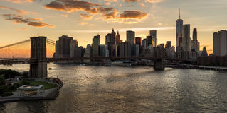 Lower Manhattan and brooklyn Bridge at Sunset. New York City Royalty Free Stock Images