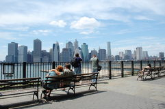 Lower Manhattan from Brooklyn Heights Stock Images