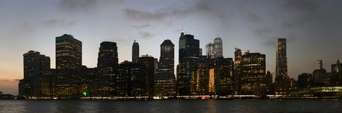 Lower Manhattan buildings as viewed from the East river in New Y Stock Images