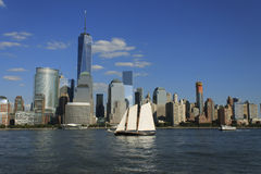 Lower Manhattan cityscape with sailing ship, New York, USA Royalty Free Stock Photos
