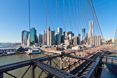 Lower Manhattan cityscape seen from Brooklyn Bridge, New York Ci Stock Photos