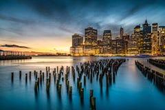 Lower Manhattan con il tramonto Fotografia Stock Libera da Diritti