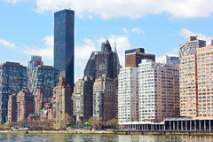 Lower Manhattan and East River from Roosevelt Island. Stock Photography