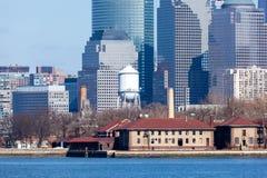 Lower Manhattan and Ellis Island Stock Images