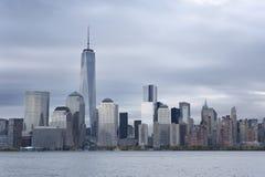 Lower Manhattan en Één World Trade Center of Stad van Freedom Tower New York Stock Foto's
