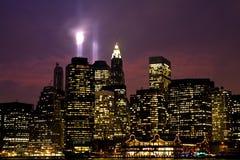 Lower Manhattan en la noche Fotos de archivo libres de regalías