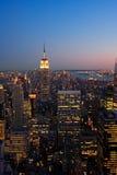 Lower Manhattan en la oscuridad Fotografía de archivo libre de regalías
