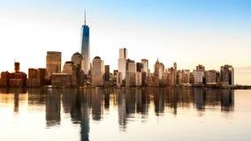 Lower Manhattan en la transición a partir de la noche al día almacen de video
