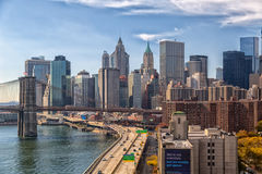 Lower Manhattan. With FDR Drive and Brooklyn bridge view Royalty Free Stock Images