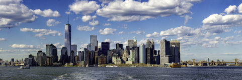 Lower Manhattan from ferry Stock Images