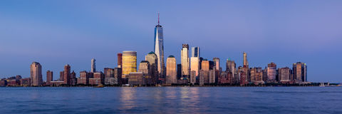 Lower Manhattan Financial District skyscrapers at twilight. New York City Stock Images