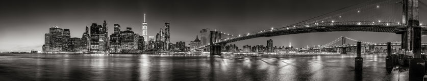 Lower Manhattan Financial District skyscrapers at twilight Panoramic Black & White. New York City. Panoramic Black and white view of Lower Manhattan Financial Stock Image