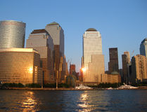 Lower Manhattan in the glow of sunset - Stock Image Royalty Free Stock Photo