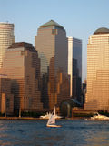 Lower Manhattan in the glow of sunset - Stock Image Royalty Free Stock Photos