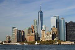 Lower Manhattan from Governors Island. Lower Manhattan Financial District as seen from Governors Island.  New York City skyline Royalty Free Stock Image