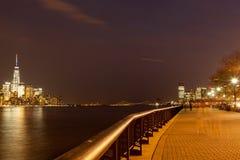 Lower Manhattan and Hoboken Waterfront Stock Image