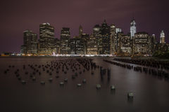 Lower Manhattan lights Royalty Free Stock Image