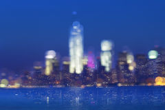 Lower Manhattan Lights Effect Royalty Free Stock Images