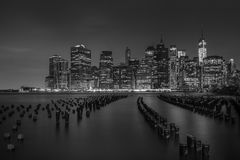 Lower Manhattan lights Royalty Free Stock Photos