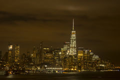 Lower Manhattan Lights on Warm Cloudy Night Stock Images